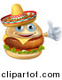 Vector Illustration of a Cheeseburger Mascot Wearing a Mexican Sombrero and Giving a Thumb up by AtStockIllustration