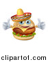 Vector Illustration of a Cheeseburger Mascot Wearing a Mexican Sombrero and Giving Two Thumbs up by AtStockIllustration