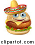 Vector Illustration of a Cheeseburger Mascot Wearing a Mexican Sombrero Hat by AtStockIllustration