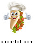 Vector Illustration of a Chef Gourmet Souvlaki Kebab Sandwich Mascot Giving Two Thumbs up by AtStockIllustration