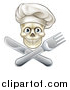 Vector Illustration of a Chef Human Skull over a Crossed Knife and Fork by AtStockIllustration