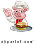 Vector Illustration of a Chef Pig Holding a Cheese Burger on a Tray and Gesturing Okay by AtStockIllustration