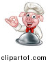 Vector Illustration of a Chef Pig Holding a Cloche and Gesturing Okay by AtStockIllustration