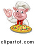 Vector Illustration of a Chef Pig Holding a Pizza and Gesturing Okay by AtStockIllustration