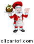 Vector Illustration of a Chef Santa Claus Holding a Christmas Pudding Dessert and Gesturing Perfect by AtStockIllustration