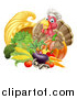 Vector Illustration of a Chef Turkey Bird Giving a Thumb up over a Pumpkin and Harvest Cornucopia 2 by AtStockIllustration