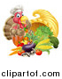 Vector Illustration of a Chef Turkey Bird Giving a Thumb up over a Pumpkin and Harvest Cornucopia by AtStockIllustration