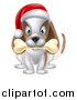 Vector Illustration of a Christmas Dog Sitting with a Bone in His Mouth and a Santa Hat on His Head by AtStockIllustration