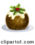 Vector Illustration of a Christmas Pudding Cake Garnished with Holly and Berries, on a White Plate by AtStockIllustration