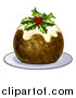 Vector Illustration of a Christmas Pudding Cake with Holly and Berries, on a White Plate by AtStockIllustration