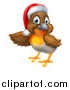 Vector Illustration of a Christmas Robin in a Santa Hat, Pointing to the Left by AtStockIllustration