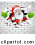 Vector Illustration of a Christmas Santa Claus Breaking Through a White Brick Wall by AtStockIllustration