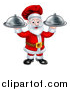 Vector Illustration of a Christmas Santa Claus Chef Holding Two Cloche Platters by AtStockIllustration