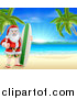 Vector Illustration of a Christmas Santa Claus Giving a Thumb up and Standing Between Palm Trees with a Surf Board on a Tropical Beach by AtStockIllustration