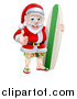 Vector Illustration of a Christmas Santa Claus Giving a Thumb up and Standing with a Green and White Surf Board by AtStockIllustration