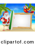 Vector Illustration of a Christmas Santa Claus Giving a Thumb up and Standing with a Surf Board on a Tropical Beach by a Blank White Sign with a Parrot by AtStockIllustration