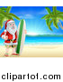 Vector Illustration of a Christmas Santa Claus Giving a Thumb up and Standing with a Surf Board on a Tropical Beach by AtStockIllustration