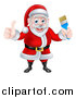 Vector Illustration of a Christmas Santa Claus Holding a Blue Paintbrush and Giving a Thumb up by AtStockIllustration