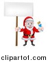 Vector Illustration of a Christmas Santa Claus Holding a Blue Paintbrush and Sign 2 by AtStockIllustration