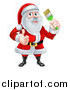 Vector Illustration of a Christmas Santa Claus Holding a Green Paintbrush and Giving a Thumb up by AtStockIllustration