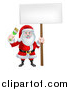 Vector Illustration of a Christmas Santa Claus Holding a Green Paintbrush and Sign by AtStockIllustration