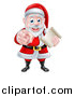 Vector Illustration of a Christmas Santa Claus Holding a List and Pointing at You by AtStockIllustration