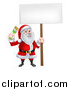 Vector Illustration of a Christmas Santa Claus Holding a Paintbrush and Sign by AtStockIllustration
