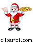 Vector Illustration of a Christmas Santa Claus Holding a Pizza and Gesturing Perfect or Ok by AtStockIllustration
