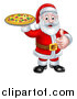 Vector Illustration of a Christmas Santa Claus Holding a Pizza and Giving a Thumb up by AtStockIllustration