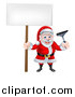 Vector Illustration of a Christmas Santa Claus Holding a Window Cleaning Squeegee and Blank Sign 2 by AtStockIllustration