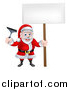 Vector Illustration of a Christmas Santa Claus Holding a Window Cleaning Squeegee and Blank Sign 3 by AtStockIllustration