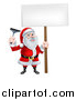 Vector Illustration of a Christmas Santa Claus Holding a Window Cleaning Squeegee and Blank Sign by AtStockIllustration