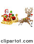 Vector Illustration of a Christmas Santa Claus in a Flying Magic Sleigh with a Reindeer by AtStockIllustration