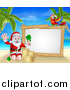 Vector Illustration of a Christmas Santa Claus Waving and Making a Sand Castle on a Tropical Beach by a Blank White Sign with a Parrot by AtStockIllustration