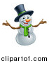 Vector Illustration of a Christmas Snowman Wearing a Green Scarf and a Top Hat by AtStockIllustration