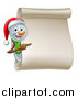 Vector Illustration of a Christmas Snowman Wearing a Santa Hat and Pointing Around a Blank Scroll by AtStockIllustration