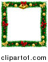Vector Illustration of a Christmas Wreath Border Frame with Bells Bows and Baubles by AtStockIllustration