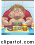 Vector Illustration of a Chubby Caucasian Man Eating a Tray Full of Fast Food by AtStockIllustration