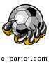 Vector Illustration of a Clawed Creature Holding a Soccer Ball by AtStockIllustration