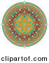 Vector Illustration of a Colorful Circular Middle Eastern Floral Rug by AtStockIllustration