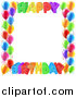 Vector Illustration of a Colorful Happy Birthday Greeting Border with Confetti Ribbons and Party Balloons by AtStockIllustration