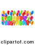 Vector Illustration of a Colorful Happy Birthday Greeting with Confetti Ribbons and Party Balloons by AtStockIllustration