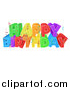 Vector Illustration of a Colorful Happy Birthday Greeting with Confetti Ribbons by AtStockIllustration