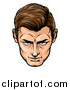 Vector Illustration of a Comic Styled Brunette Caucasian Man's Face Looking Upwards by AtStockIllustration