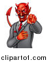 Vector Illustration of a Corrupt Devil Businessman Pointing Outwards, from the Waist up by AtStockIllustration