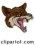 Vector Illustration of a Coyote Mascot Head Howling by AtStockIllustration