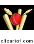 Vector Illustration of a Cricket Ball Breaking Wicket Stumps on Black by AtStockIllustration