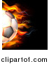 Vector Illustration of a Cropped 3d Flaming Soccer Ball Flying over Black by AtStockIllustration