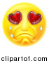 Vector Illustration of a Crying Yellow Smiley Face Emoji Emoticon with Broken Heart Eyes by AtStockIllustration