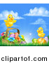 Vector Illustration of a Cute Yellow Chicks on Easter Eggs and a Basket in the Grass, over a Sunny Sky by AtStockIllustration